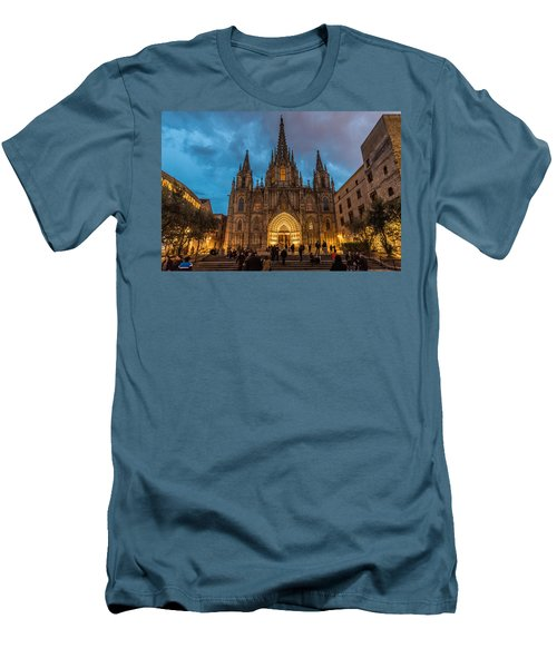 Barcelona Cathedral At Dusk Men's T-Shirt (Slim Fit) by Randy Scherkenbach