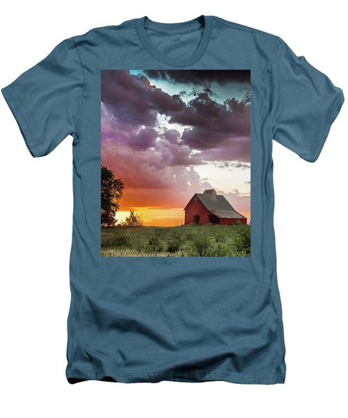 Barn In Stormy Skies Men's T-Shirt (Slim Fit) by Dawn Romine