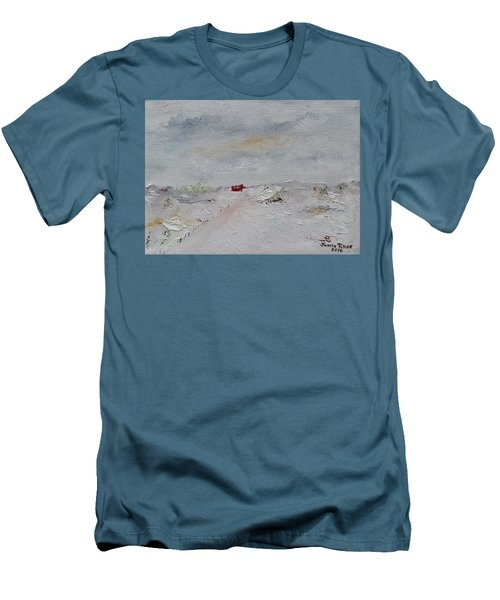 Men's T-Shirt (Athletic Fit) featuring the painting Barn In Winter by Judith Rhue