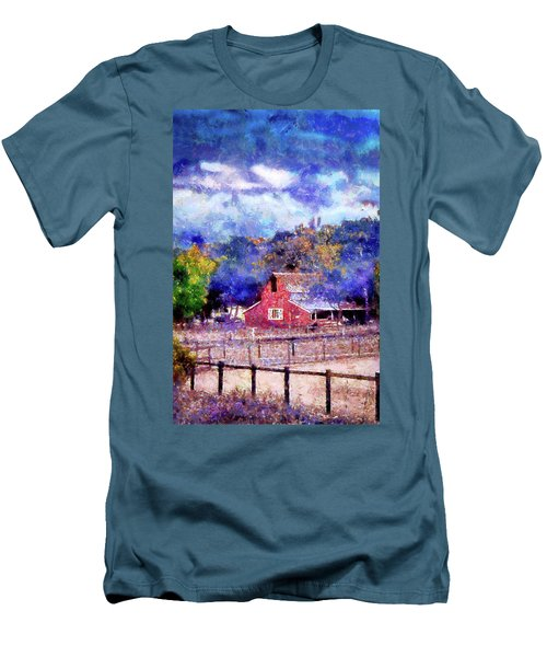 Barn On Ca Highway 154 Men's T-Shirt (Slim Fit) by Joseph Hollingsworth