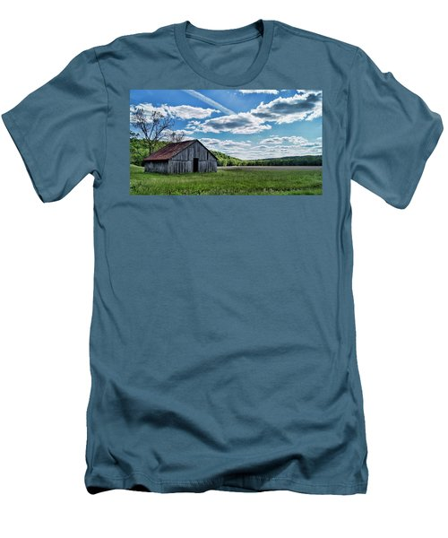 Men's T-Shirt (Slim Fit) featuring the photograph Barn On Cedar Creek Bottoms by Cricket Hackmann