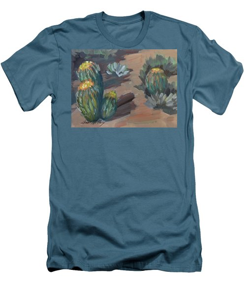 Men's T-Shirt (Slim Fit) featuring the painting Barrel Cactus At Tortilla Flat by Diane McClary