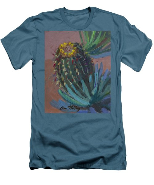 Barrel Cactus In Bloom - Boyce Thompson Arboretum Men's T-Shirt (Slim Fit) by Diane McClary
