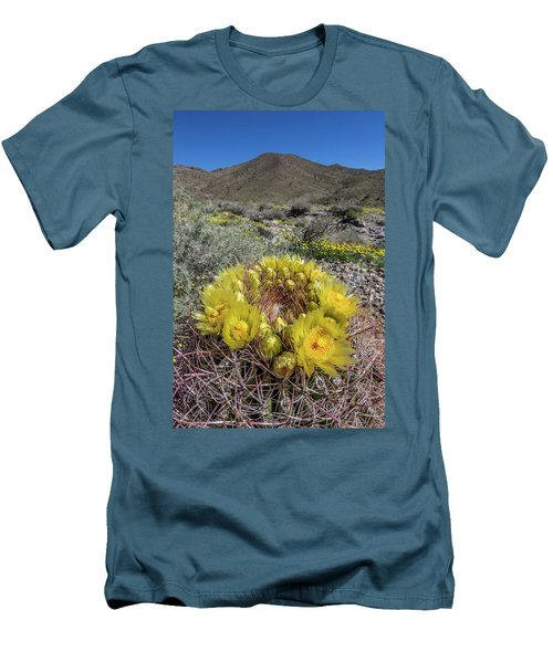 Men's T-Shirt (Slim Fit) featuring the photograph Barrel Cactus Super Bloom by Peter Tellone