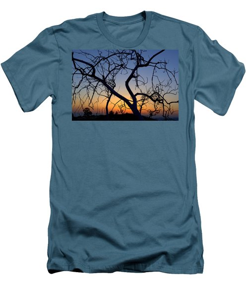 Men's T-Shirt (Slim Fit) featuring the photograph Barren Tree At Sunset by Lori Seaman