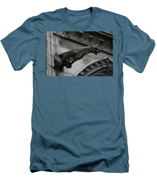 Men's T-Shirt (Slim Fit) featuring the photograph Bat Eared Dog Gargoyle Of Notre Dame by Christopher Kirby