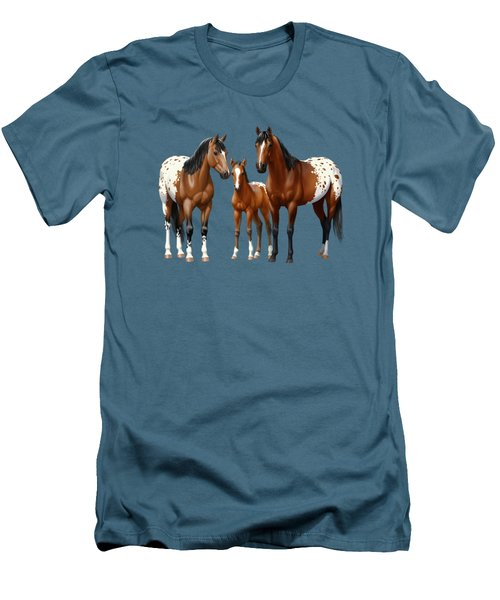 Bay Appaloosa Horses In Winter Pasture Men's T-Shirt (Slim Fit) by Crista Forest