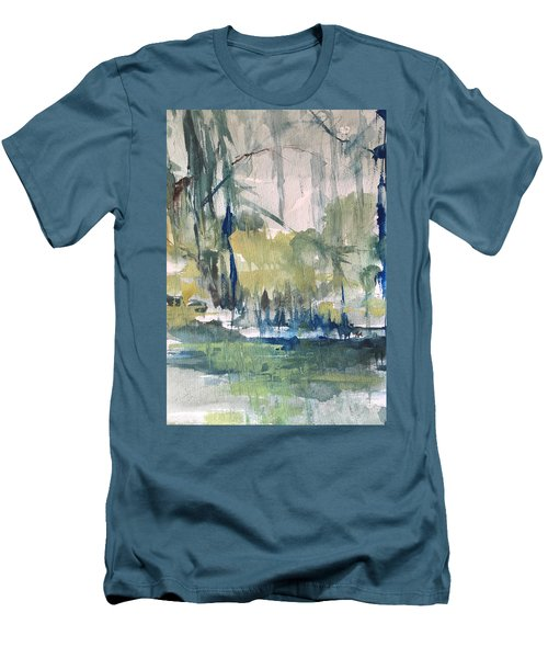Bayou Blues Abstract Men's T-Shirt (Slim Fit) by Robin Miller-Bookhout