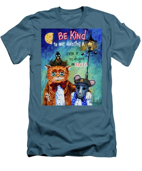 Men's T-Shirt (Slim Fit) featuring the painting Be Kind by Igor Postash
