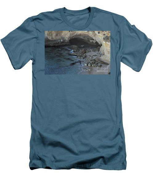 Beach Cave From The Cliffs In Malhada Do Baraco Men's T-Shirt (Slim Fit)