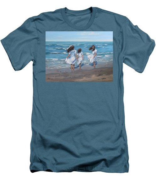 Men's T-Shirt (Slim Fit) featuring the painting Beach Day by Karen Ilari