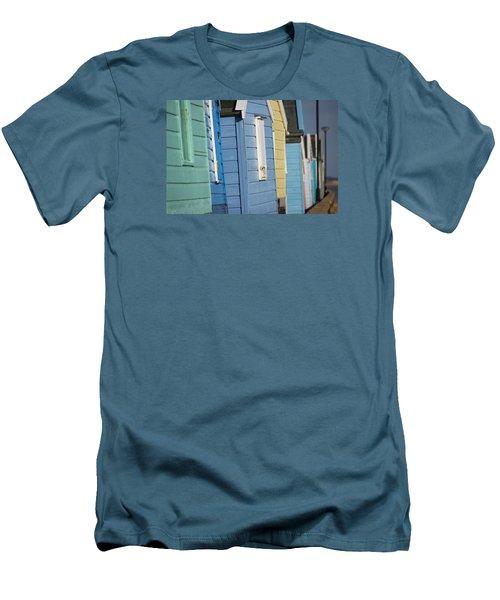 Beach Huts Closeup Men's T-Shirt (Slim Fit) by David Warrington