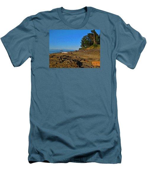 Beach Scene, Berry Point, Gabriola, Bc Men's T-Shirt (Slim Fit) by Anne Havard