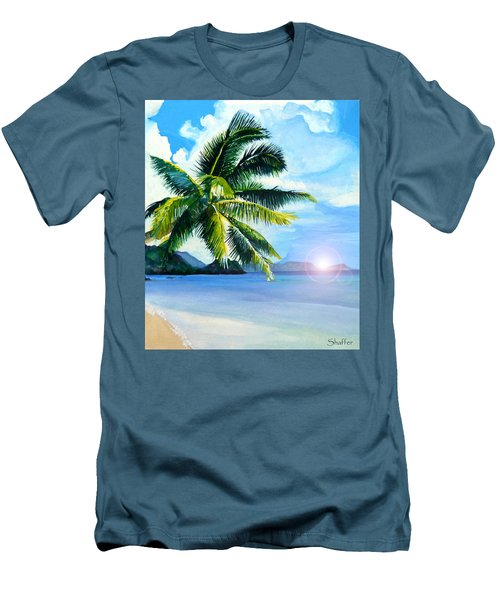 Men's T-Shirt (Slim Fit) featuring the painting Beach Scene by Curtiss Shaffer