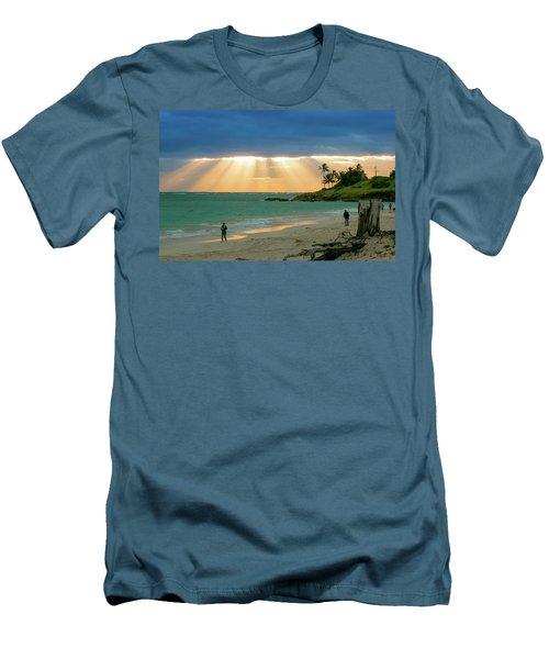 Beach Walk At Sunrise Men's T-Shirt (Slim Fit) by E Faithe Lester