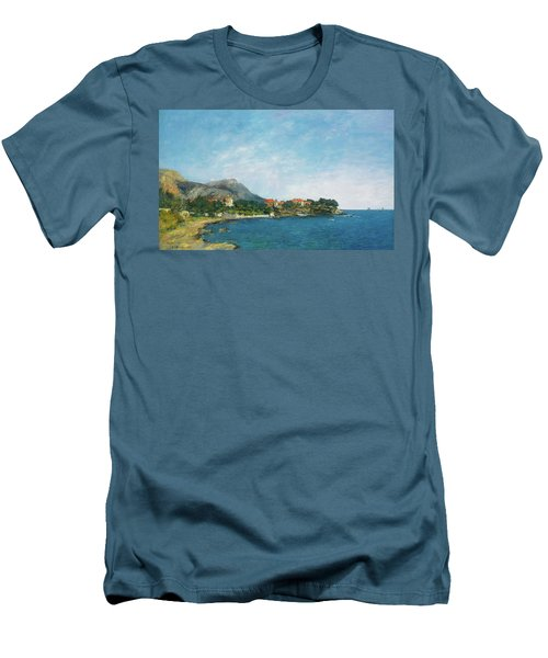 Men's T-Shirt (Slim Fit) featuring the painting Bealieu - The Bay Of Fourmis by Eugene Boudin