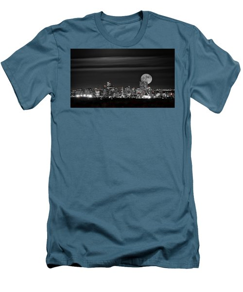 Men's T-Shirt (Slim Fit) featuring the photograph Beaver Moonrise In B And W by Kristal Kraft