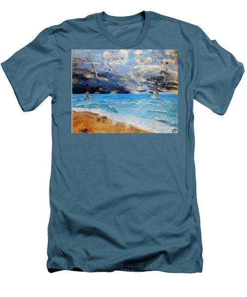 Men's T-Shirt (Slim Fit) featuring the painting Before The Storm by Vicky Tarcau