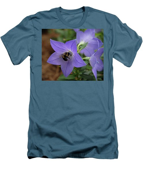 Men's T-Shirt (Slim Fit) featuring the photograph Bellflower And Bee  by Marie Hicks
