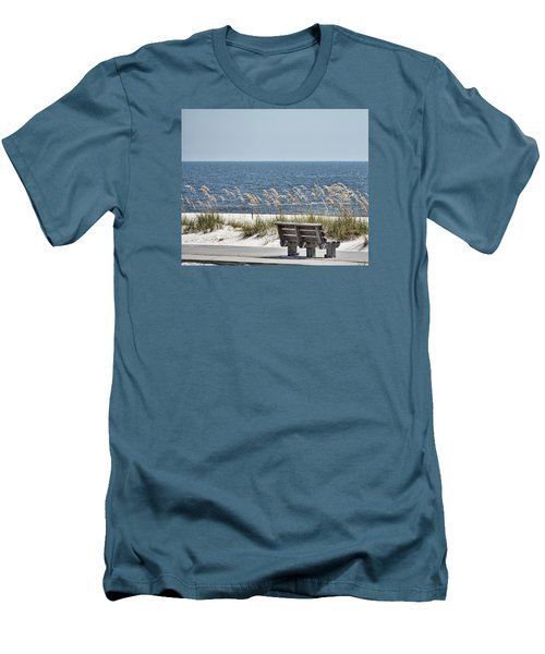 Bench At The Beach Men's T-Shirt (Slim Fit) by Cathy Jourdan