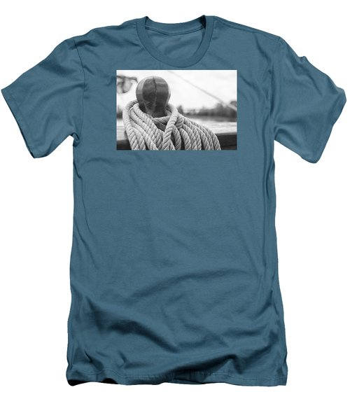 Men's T-Shirt (Slim Fit) featuring the photograph Beneath The Sail Coiled Rope by Bob Decker