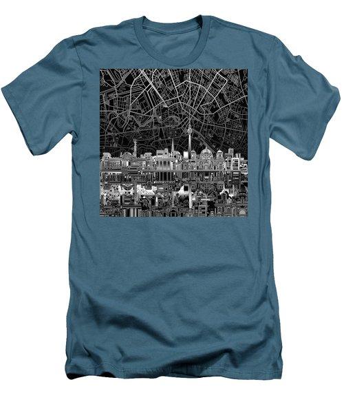 Berlin City Skyline Abstract 4 Men's T-Shirt (Slim Fit) by Bekim Art