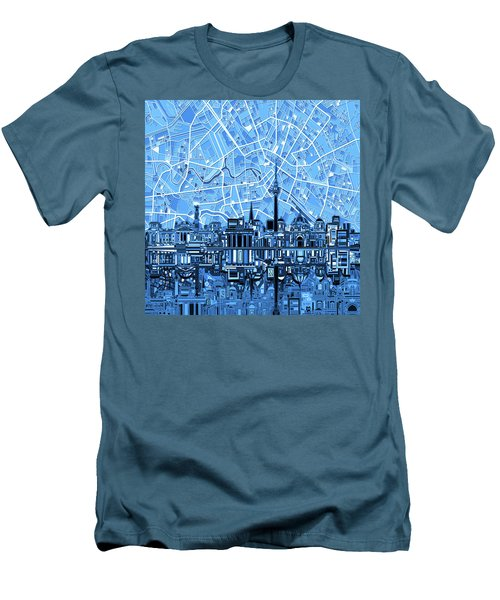 Berlin City Skyline Abstract Blue Men's T-Shirt (Slim Fit) by Bekim Art