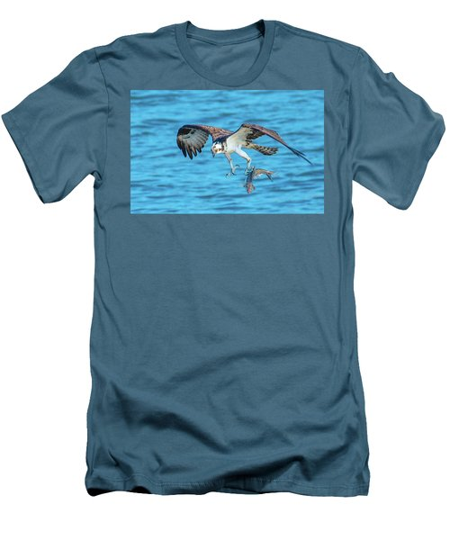 Best Osprey With Fish In One Talon Men's T-Shirt (Slim Fit) by Jeff at JSJ Photography