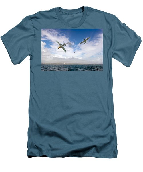 Men's T-Shirt (Slim Fit) featuring the photograph Bf109 Down In The Channel by Gary Eason