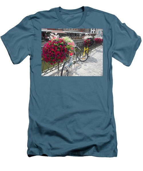 Men's T-Shirt (Slim Fit) featuring the photograph Bike And Flowers by Therese Alcorn