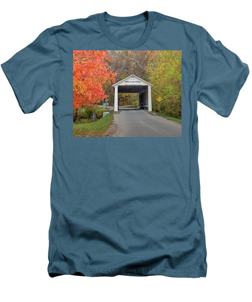 Billie Creek Covered Bridge Men's T-Shirt (Slim Fit) by Harold Rau