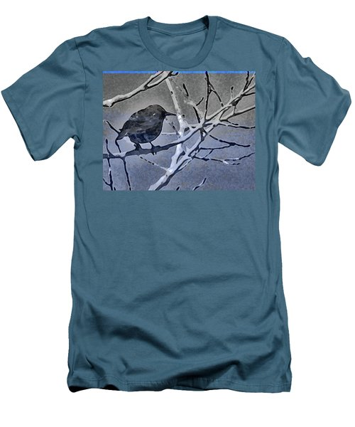 Bird In Digital Blue Men's T-Shirt (Slim Fit)