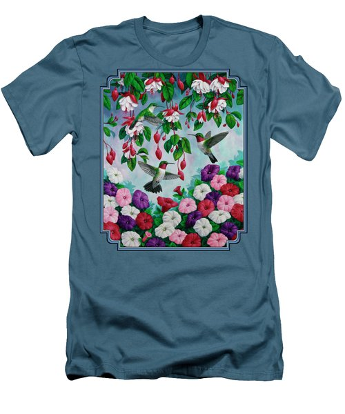 Bird Painting - Hummingbird Heaven Men's T-Shirt (Slim Fit) by Crista Forest