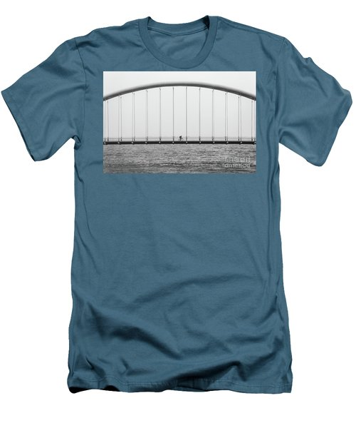 Men's T-Shirt (Slim Fit) featuring the photograph Black And White Bridge by MGL Meiklejohn Graphics Licensing