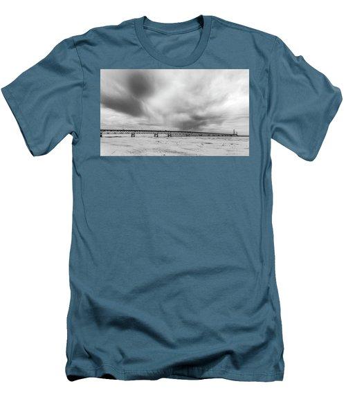 Men's T-Shirt (Slim Fit) featuring the photograph Black And White Mackinac Bridge Winter by John McGraw