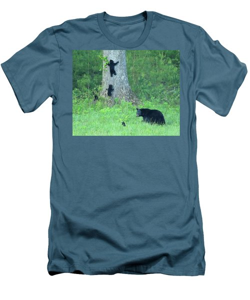 Black Bear Sow And Four Cubs Men's T-Shirt (Athletic Fit)