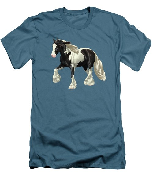 Black Pinto Gypsy Vanner In Snow Men's T-Shirt (Athletic Fit)