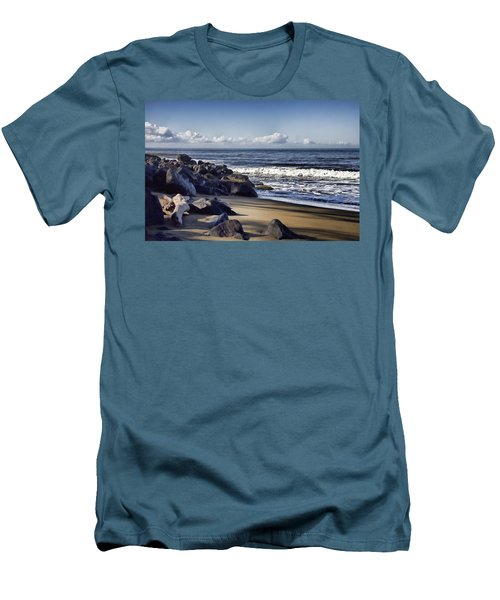 Black Sand Beach  Men's T-Shirt (Slim Fit) by Douglas Barnard