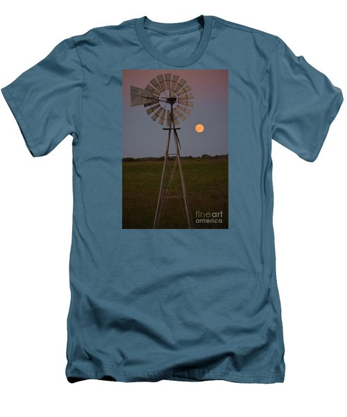 Blood Moon And Windmill Men's T-Shirt (Slim Fit) by Mark McReynolds