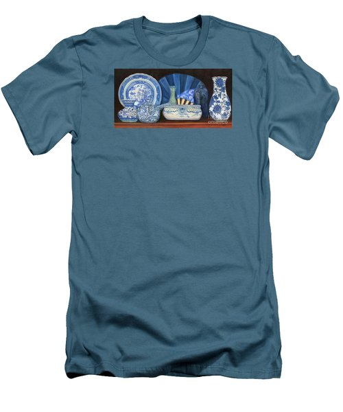 Blue And White Porcelain Ware Men's T-Shirt (Slim Fit) by Marlene Book
