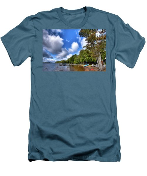 Men's T-Shirt (Athletic Fit) featuring the photograph Blue Boat On The Shore by David Patterson