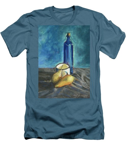 Men's T-Shirt (Slim Fit) featuring the painting Blue Bottle And Pears by Marna Edwards Flavell