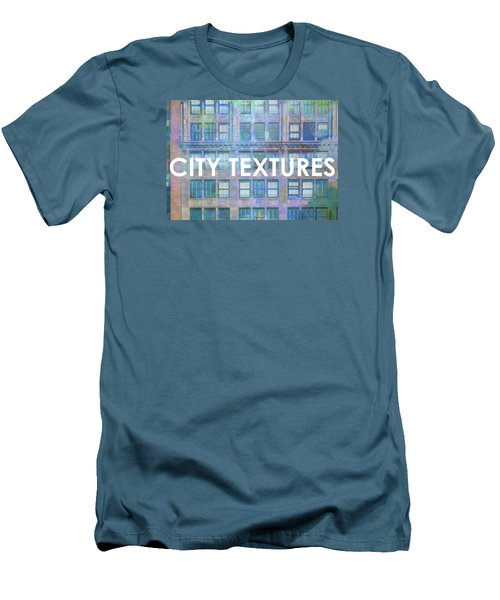 Men's T-Shirt (Slim Fit) featuring the mixed media Blue Broadway Urban Textures by John Fish