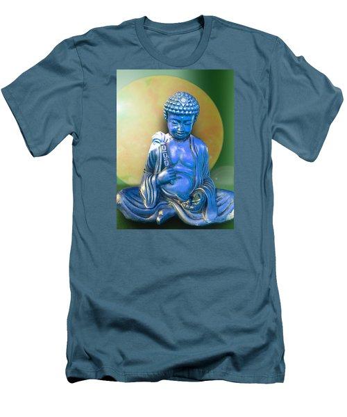 Blue Buddha Figurine Men's T-Shirt (Slim Fit) by Ginny Schmidt