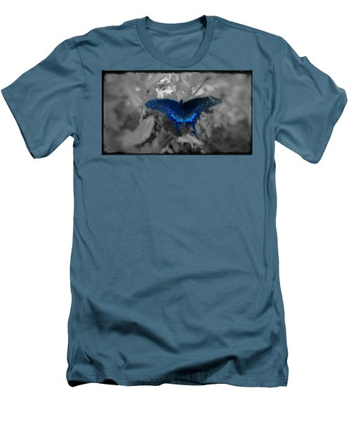 Men's T-Shirt (Slim Fit) featuring the digital art Blue Butterfly In Charcoal And Vibrant Aqua Paint by MendyZ