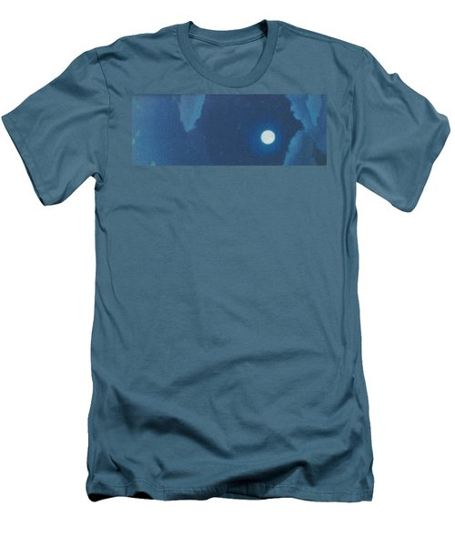 Blue Cloudy Moon Men's T-Shirt (Athletic Fit)