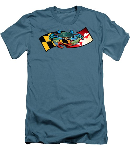 Blue Crab Maryland Banner Men's T-Shirt (Athletic Fit)