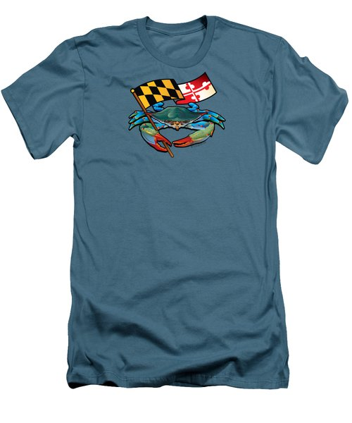 Blue Crab Maryland Flag Men's T-Shirt (Athletic Fit)
