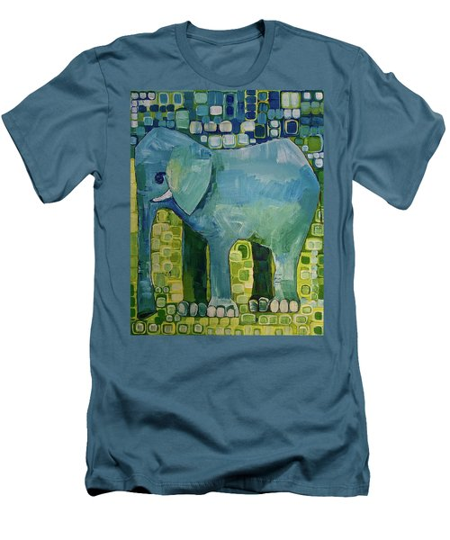 Blue Elephant Men's T-Shirt (Slim Fit) by Donna Howard
