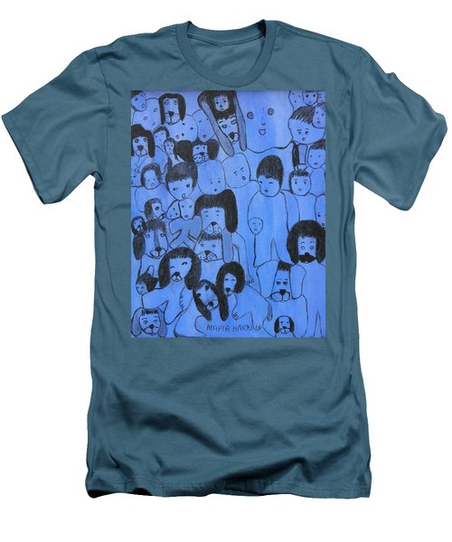 Blue Faces Men's T-Shirt (Slim Fit) by Maria Iliou
